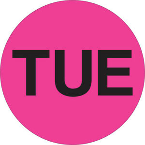 Tape Logic Inventory Circle Labels Days Of The Week tue 2 Fluorescent Pink 50