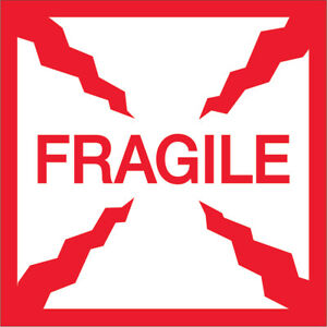 Tape Logic Labels fragile 4 X 4 Red white 500 roll Scl501