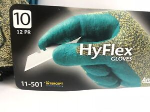 Hyflex 12 Pair Teal And Yellow Protective Work Gloves Size 6 To 11 Inches 11 501