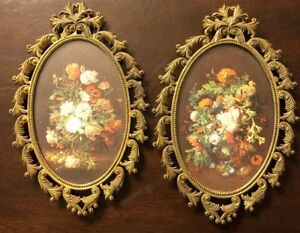 Vintage Pair Ornate Metal Frame Floral Pictures Oval Made In Italy