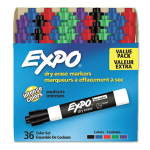 Expo Low Odor Dry Erase Marker Chisel Tip Assorted 36 box 1921061