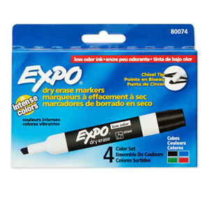 Marker Expo 2 Dry Erase 4 per Pk Chisel Blk Rd Blu Grn 3 Pk 80074