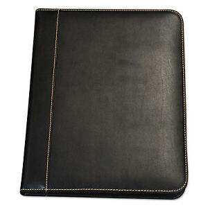 Samsill Contrast Stitch Leather Padfolio 8 1 2 X 11 Leather Black 71710