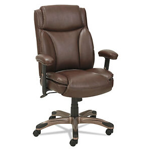 Alera Veon Series Leather Midback Manager s Chair W coil Spring Cushioning brown