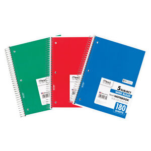 Mead Notebook Spiral 5 Subject 180sht 10 5x8 12 Ea 05680