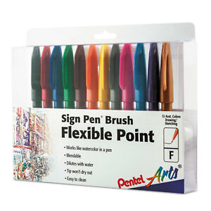 Pentel Arts Sign Pen Brush Flexible Point Marker Pen Assorted 12 pack Ses15cpc12