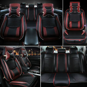 Us Car Pu Leather Seat Cover Cushions Front Rear 5 seats Suv Black Seat Covers
