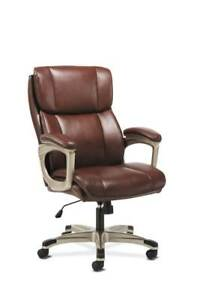 Sadie Executive Chair Fixed Arms Brown Leather Vst316