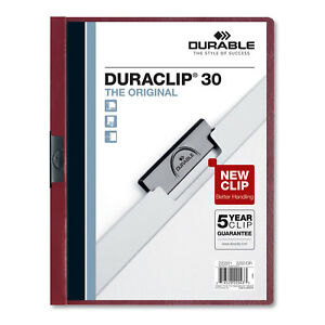 Durable Vinyl Duraclip Report Cover W clip Letter Holds 30 Pages Clear maroon