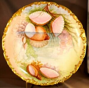 Superb T V Limoges France Sea Shell Ocean Underwater Hand Decorated Charger Wow