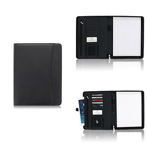 Padfolio Business Leather Portfolio Zippered Binder With Strap Tablet Sleeve