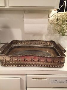 Decorative Large Silverplate Serving Tray Beautiful Design With Rope Edge