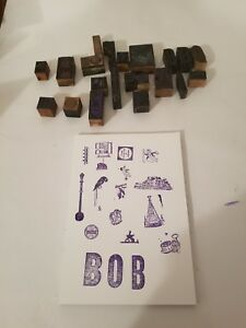 Vintage Letterpress Print Blocks Wood Metal Lot Cartoons Drummer Boy