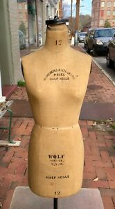 Vintage Wolf Half Scale Dress Form Mannequin With Iron Base
