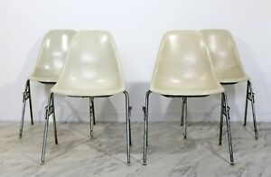 Mid Century Modern Set 4 Eames Herman Miller Stackable Shell Side Chairs 1960s