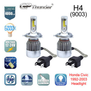 2 Bulbs H4 Hb2 9003 Cree Led Headlight Hi lo Bulbs 6000k Honda Civic 1992 2003