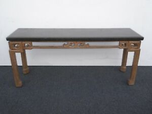 Vintage Marge Carson Mid Century Modern Black Console Sofa Table As Is