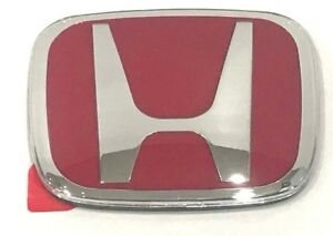 1 Pcs Jdm Honda Rear Badge Emblem H Red Chrome H 92r Accord Civic Crv Fit