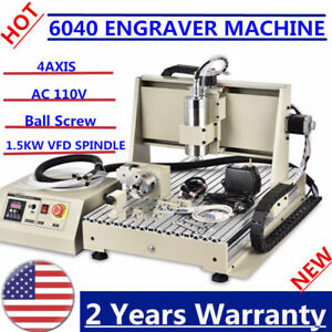 1 5kw 4axis 6040 Cnc Router Engraving drilling Engraver 3d Cutter Machine Ups