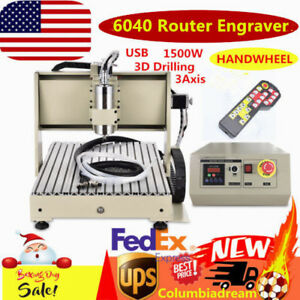Usb 1 5kw 6040 Cnc Router Engraver Machine 3axis Pcb Drilling milling handwheel