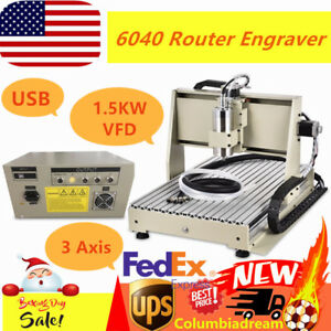 Usb 6040 Cnc 1 5kw 3 Axis Router Mental wood Engraver Milling Drilling Free Ship