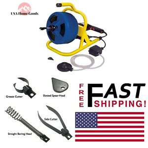 Cable Drum Machine 50 Ft Plumbing Snake Auger Drain Sink Clog block Cleaner