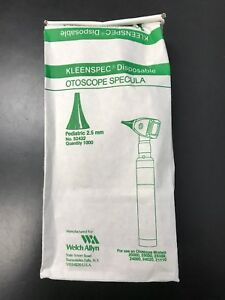 Welch Allyn Kleenspec Disposable 2 5 Mm Ear Specula 52432 1000 Specula bag