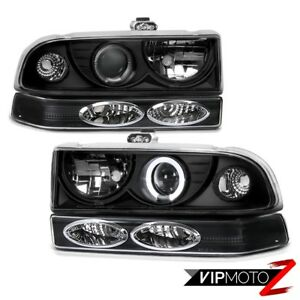 Chevy 98 04 Blazer S10 Pickup V8 L r Black Headlight bumper Parking Signal Lamp