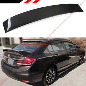 For 2006 2015 Honda Civic 8th 9th Gen 4dr Carbon Fiber Rear Window Roof Spoiler