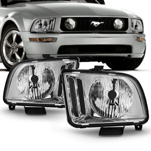 05 09 Ford Mustang factory Style Chrome Housing Headlight Left right Side Lamp