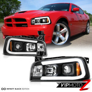 06 10 Dodge Charger tron Style C shape Led Neon Tube Black Projector Headlight
