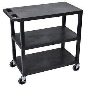 Luxor Ec222 18 X 32 Cart With 3 Flat Shelves Non staining Black Holds 400 Lbs