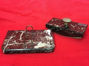 Vintage Dark Green Marble 2 Piece Desk Set Nice Lot