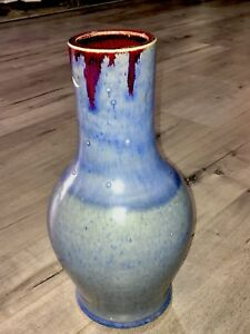 Magnificent Mid Century 14 Chinese Blue Glazed Jun Ware Vase Signed Studio Art