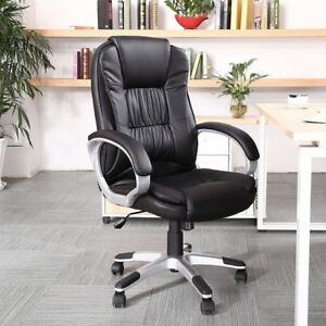 Executive Office Chair Big And Tall Pu Leather High Back Manager Chairs Padded
