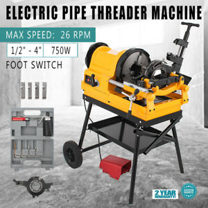 Pipe Threading Machine Foot Switch 1 2 4 10 26rpm Self oiling Screwdriver