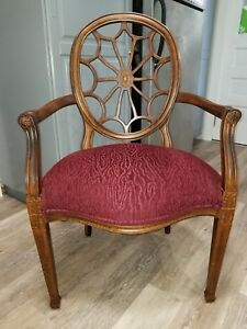 Ethan Allen Cherry Spider Back Arm Chair Vintage Exc Cond Never Sat On