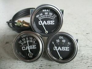 Case Tractor Gauges Set Of 3 Temp 78 Lead Amp Oil Pressure Aftermarket