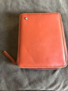 Orange Franklin Covey Planner Genuine Leather 7 ring Full Zip Agenda Organizer