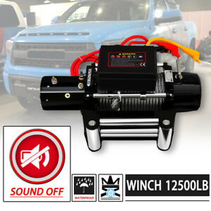 Win 2x 12500lb Dc 12v Electric Mute Auto Brake Ip67 Waterproof Winch Kit