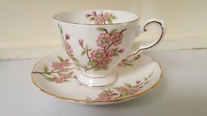Tuscan Fine English Bone China Springtime Footed Tea Cup Saucer Pink Blossoms