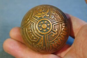 Vintage Eastlake Style Pattern Cast Bronze Door Knobs Beautiful Patina Repaired