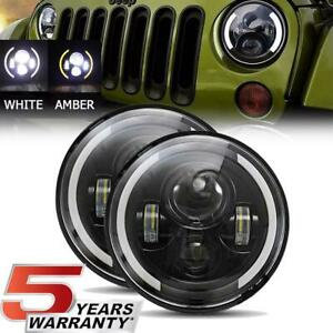 Pair 7 Inch Cree Led Headlights Halo Angle Eyes For Jeep Wrangler Jk Tj Cj Lj Us