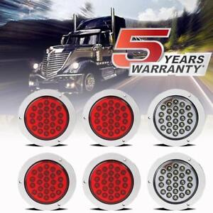 4inch 24 Led Round Stop Turn Tail Backup Reverse Truck Lights 4 Red 2 White Us