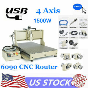 Usb 4axis 6090 Cnc Router Engraver 1500w Spindle Motor Engraving Milling Machine