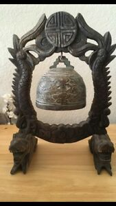 Vintage Brass Chinese Temple Bell Mallet Buddhist Pagoda Hanging Bell Gong