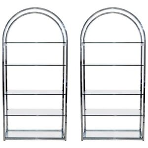 Mid Century Modern Pair Tall Curved Chrome Glass Etagere Shelving Baughman 1970s