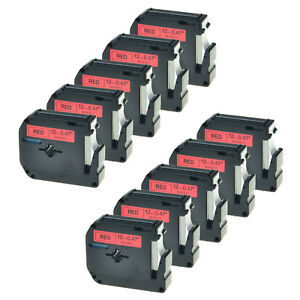 10pk Black On Red Tape For Brother P touch Mk431 M k431 Pt 65sb 12mm Label Maker