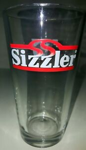 Antique Clear Souvenir Sizzler Restaurant Drinking Glass Cup Pepsi Logo On Back