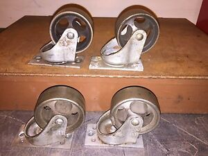 4 Lg Vintage Cast Iron Bassick 3 1 4 Swivel Plate Heavy Industrial Casters